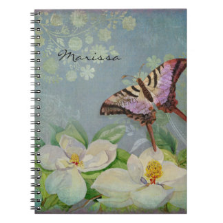Modern Floral Butterfly w Magnolia Flower Blossom Spiral Notebooks