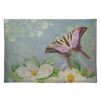 Modern Floral Butterfly w Magnolia Flower Blossom Placemat