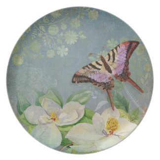 Modern Floral Butterfly w Magnolia Flower Blossom Plates