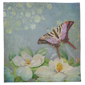 Modern Floral Butterfly w Magnolia Flower Blossom Printed Napkin