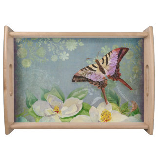 Modern Floral Butterfly w Magnolia Flower Blossom Serving Platters
