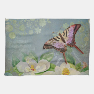 Modern Floral Butterfly w Magnolia Flower Blossom Hand Towels