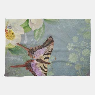 Modern Floral Butterfly w Magnolia Flower Blossom Tea Towel