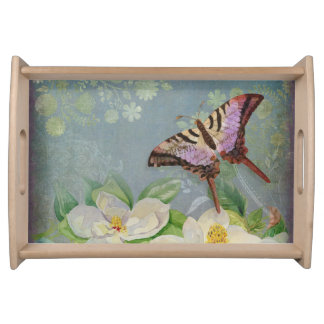 Modern Floral Butterfly w Magnolia Flower Blossom Food Trays