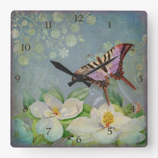 Modern Floral Butterfly w Magnolia Flower Blossom Wall Clock