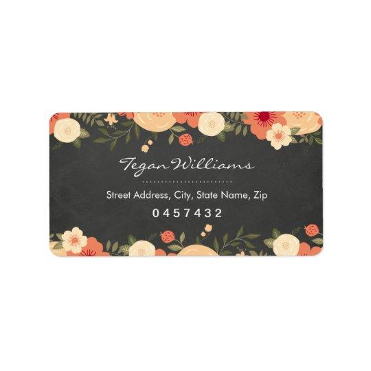 Modern Floral Chalkboard Address Labels