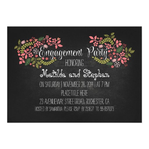Modern floral chalkboard engagement party invite