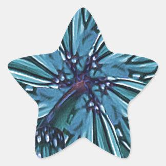 Modern Floral Collage Pattern Star Sticker