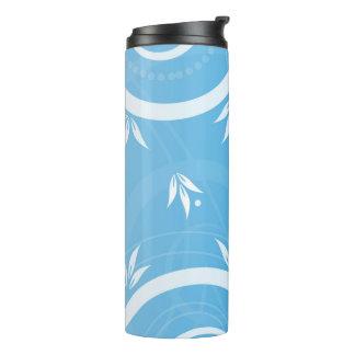 Modern Floral Design Blue Thermal Tumbler