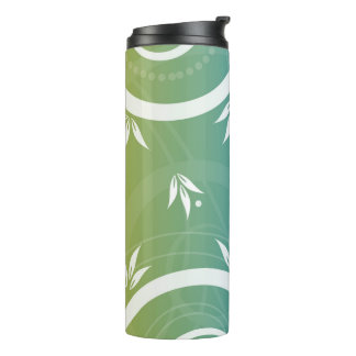 Modern Floral Design Green Blue Thermal Tumbler