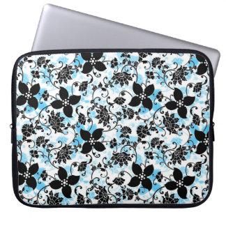 Modern Floral Design Laptop Sleeve - Blue/Black