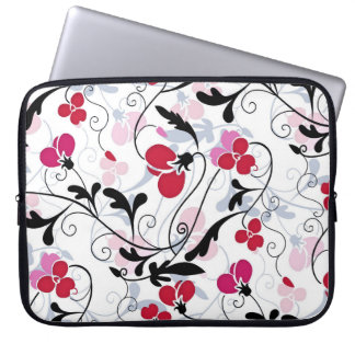 Modern Floral Design Laptop Sleeve - Red/White