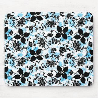 Modern Floral Design Mouse Pad - Black/Blue/White