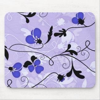 Modern Floral Design Mouse Pad - Blue/Purple/Black