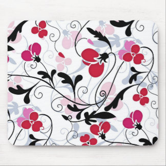 Modern Floral Design Mouse Pad - Red/White/Black