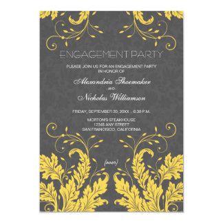Modern Floral Engagement Party Invite (yellow)