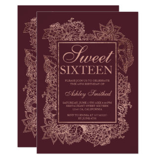 Modern floral faux rose gold burgundy Sweet 16 Card