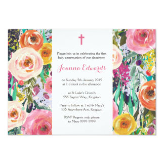 Modern Floral First Communion Personalized Invites