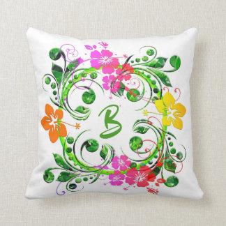 Monogrammed Monogram Floral Flower Cushions - Monogrammed Monogram Floral Flower Scatter ...