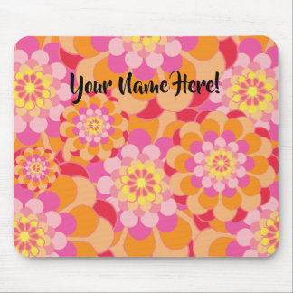 Modern Floral Flower Mouse Pad - Editable Name!