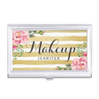 Modern Floral Gold Stripes Makeup Script Logo Business Card Holder