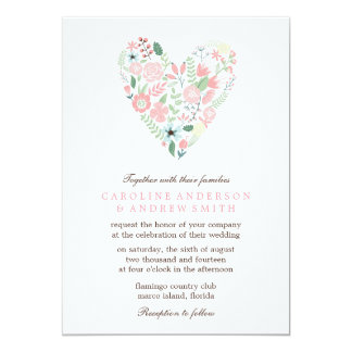 Modern Floral Heart Wedding 13 Cm X 18 Cm Invitation Card