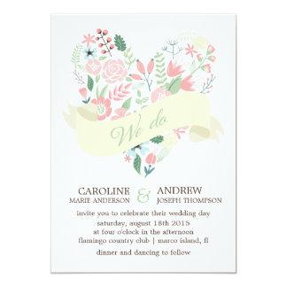 Modern Floral Heart Wedding 13 Cm X 18 Cm Invitation Card