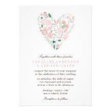 Modern Floral Heart Wedding Invitation