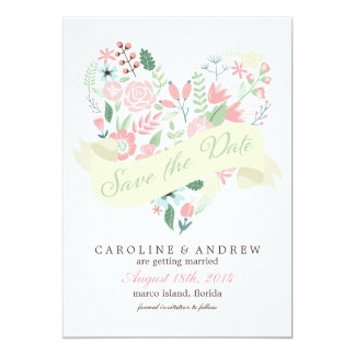 Modern Floral Heart Wedding Save the Date 13 Cm X 18 Cm Invitation Card