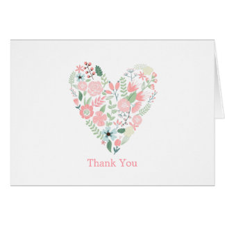 Modern Floral Heart Wedding Thank You Notes Note Card