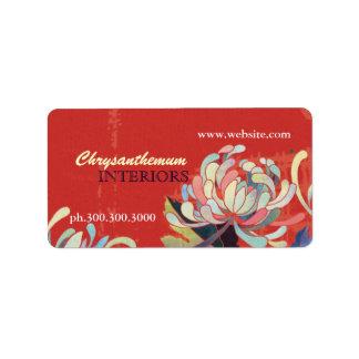Modern Floral Interior Design Business Address Label
