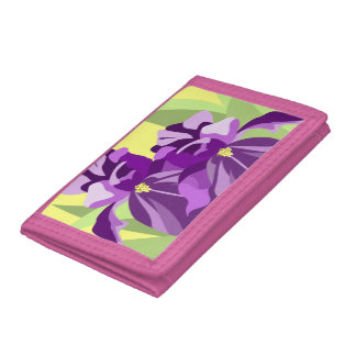 Modern Floral Iris Trifold Wallets
