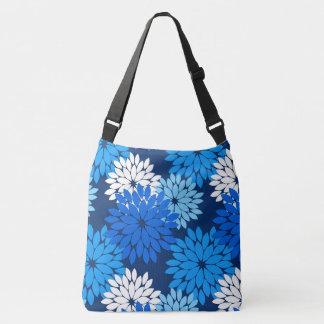 Modern Floral Kimono Print, Blue, Aqua & Navy Crossbody Bag