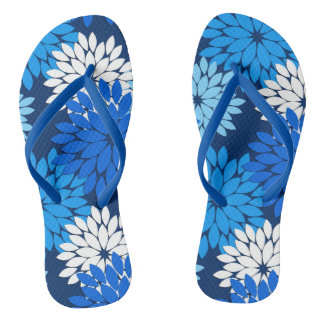 Modern Floral Kimono Print, Blue, Aqua & Navy Thongs