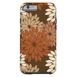 Modern Floral Kimono Print, Chocolate Brown Tough iPhone 6 Case