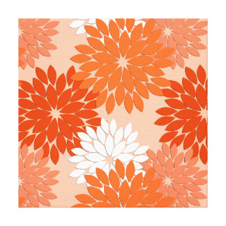 Modern Floral Kimono Print, Coral Orange on Peach Canvas Print