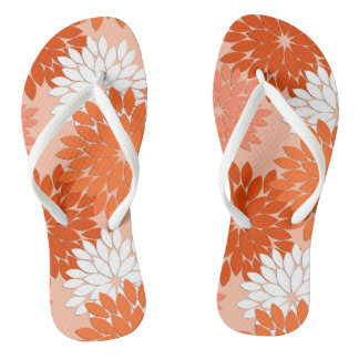 Modern Floral Kimono Print, Coral Orange on Peach Thongs