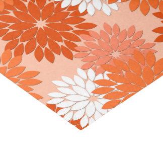 Modern Floral Kimono Print, Coral Orange on Peach Tissue Paper