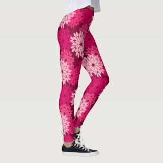 Modern Floral Kimono Print, Coral Pink & Burgundy Leggings