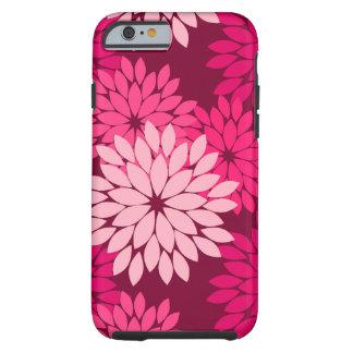 Modern Floral Kimono Print, Coral Pink & Burgundy Tough iPhone 6 Case