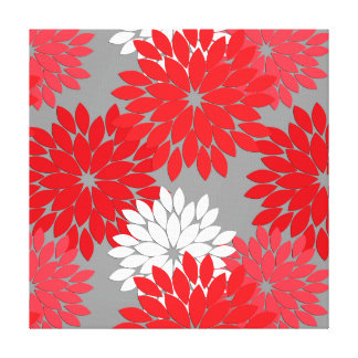 Modern Floral Kimono Print, Coral Red and Gray Canvas Print