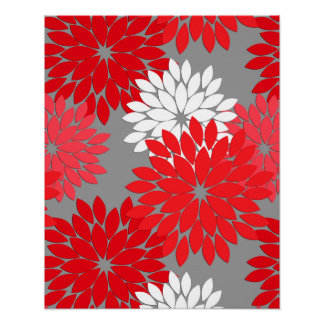 Modern Floral Kimono Print, Coral Red and Gray Poster