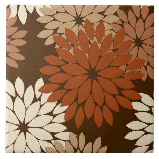 Modern Floral Kimono Print, Dark Brown and Tan Large Square Tile