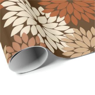 Modern Floral Kimono Print, Dark Brown and Tan Wrapping Paper
