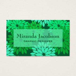 Modern Floral Kimono Print, Emerald and Jade Green Business Card