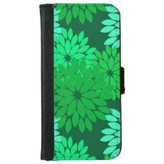 Modern Floral Kimono Print, Emerald and Jade Green iPhone 6 Wallet Case