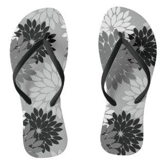 Modern Floral Kimono Print, Gray, Black and White Thongs