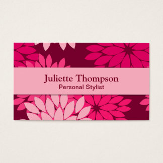 Modern Floral Kimono Print, Pink and Burgundy Business Card