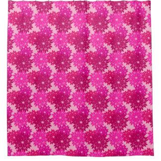 Modern Floral Kimono Print, Pink, Fuchsia and Wine Shower Curtain