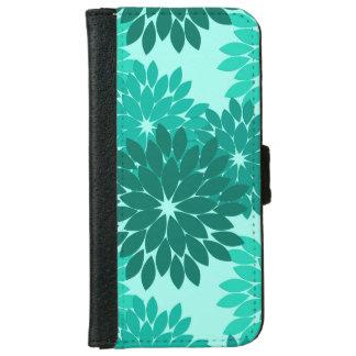 Modern Floral Kimono Print, Turquoise, Teal & Aqua iPhone 6 Wallet Case